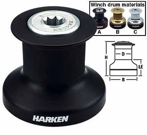 B6A Harken Single Speed Winch Aluminum